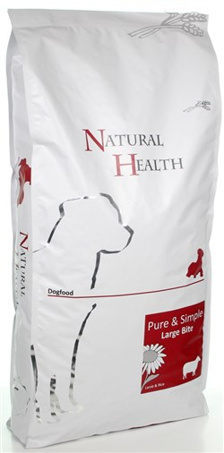 NATURAL HEALTH DOG LAM/RIJST LARGE BITE 12,5 KG