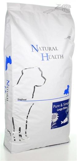 NATURAL HEALTH DOG VIS/RIJST LARGE BITE  12,5 KG