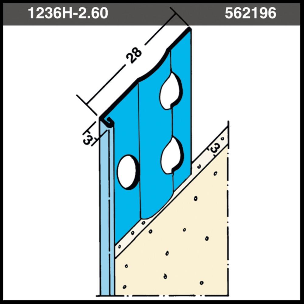 Protektor Stucstop 1236H verzinkt staal stucdikte 3 mm 260