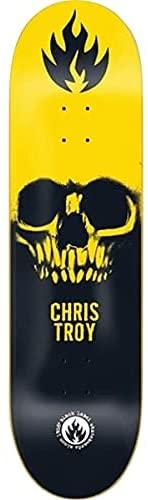 BLACK LABEL CHRIS TROY SKULL 8.5 SKATEBOARD DECK BLACK-YELLOW-WHITE