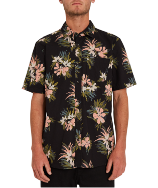 VOLCOM FLORAL WITH CHEESE OVERHEMD - BLACK