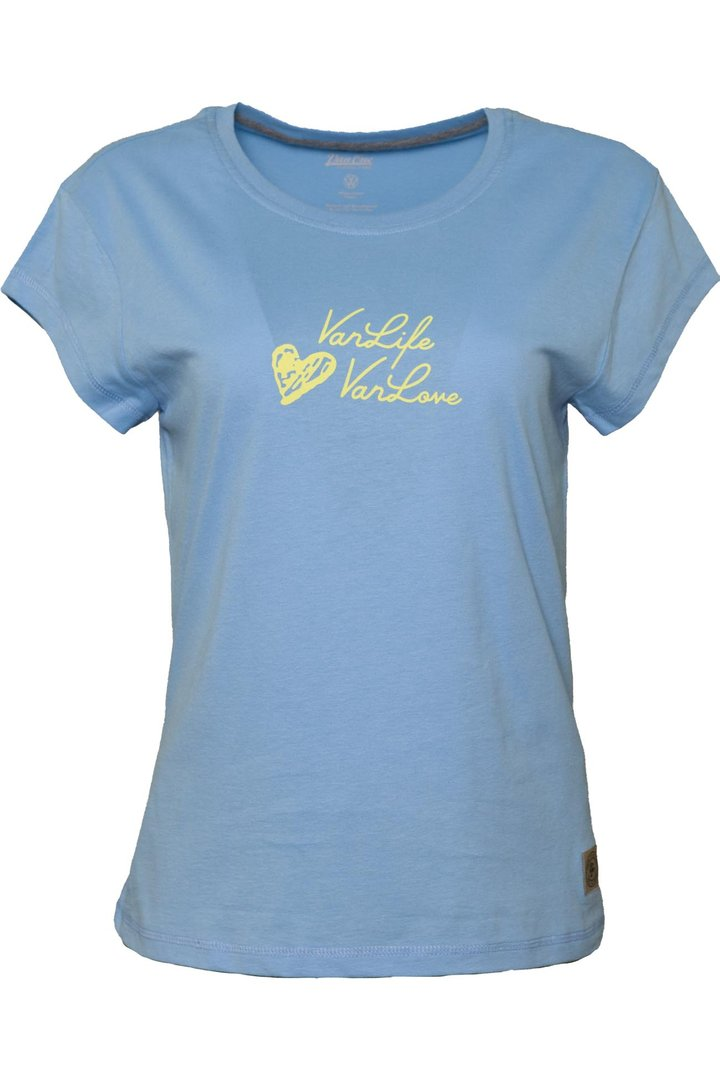 VAN ONE CLASSIC CARS WORLD TO SEE T-SHIRT - LIGHT BLUE YELLOW