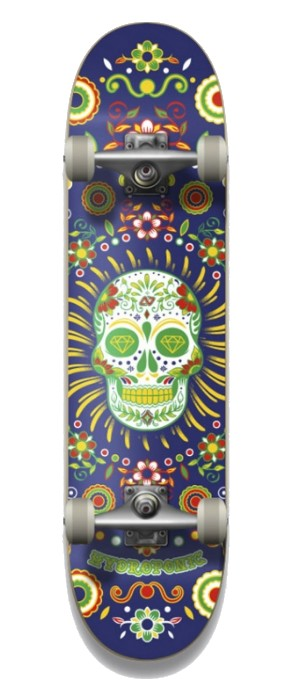 """HYDROPONIC MEXICAN SKULL NAVY 8.0"""" SKATEBOARD COMPLETE"""