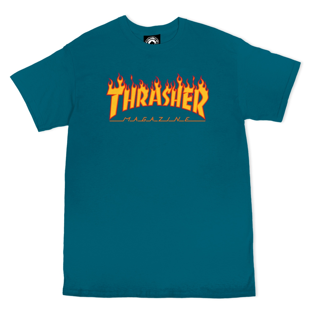 THRASHER FLAME S/S T-SHIRT - GALAPAGOS BLUE