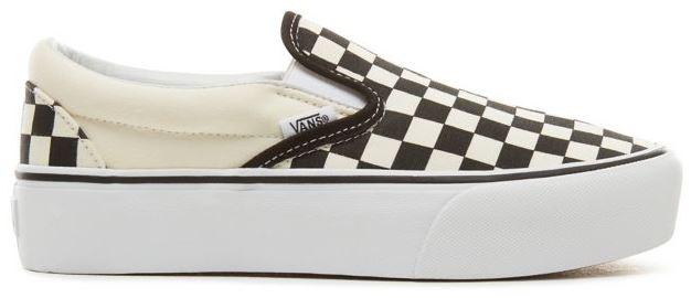 VANS CLASSIC SLIP ON PLATFORM SCHOENEN BLACKWHITE CHECKERBOARD WHITE