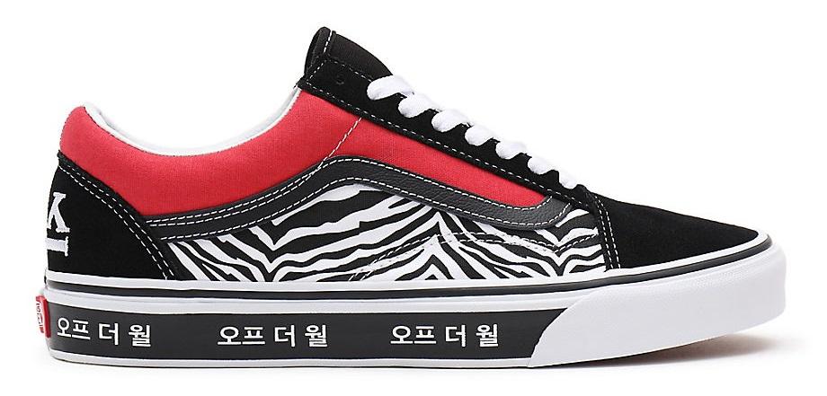 VANS KOREAN TYPOGRAPHY OLD SKOOL SNEAKERS- RACING RED/TRUE BLUE