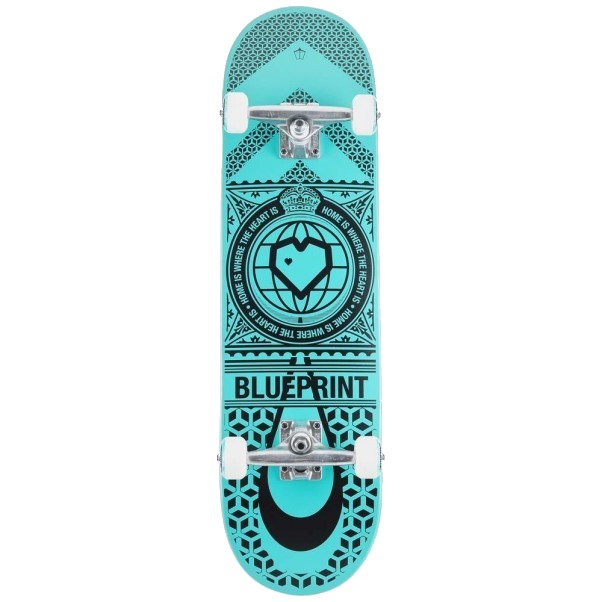 "BLUE PRINT HOME HEART 8.25"" SKATEBOARD COMPLETE - BLACK/TURQUOISE"