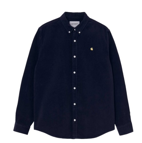 CARHARTT WIP MADISON FINE CORD LONG SLEEVE OVERHEMD - DARK NAVY / LIMONCELLO