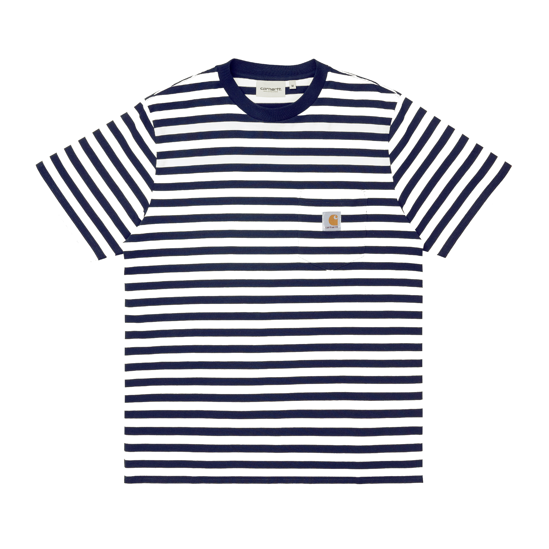 CARHARTT WIP SCOTTY POCKET SHORT SLEEVE T-SHIRT - SCOTTY STRIPE, DARK NAVY/WHITE