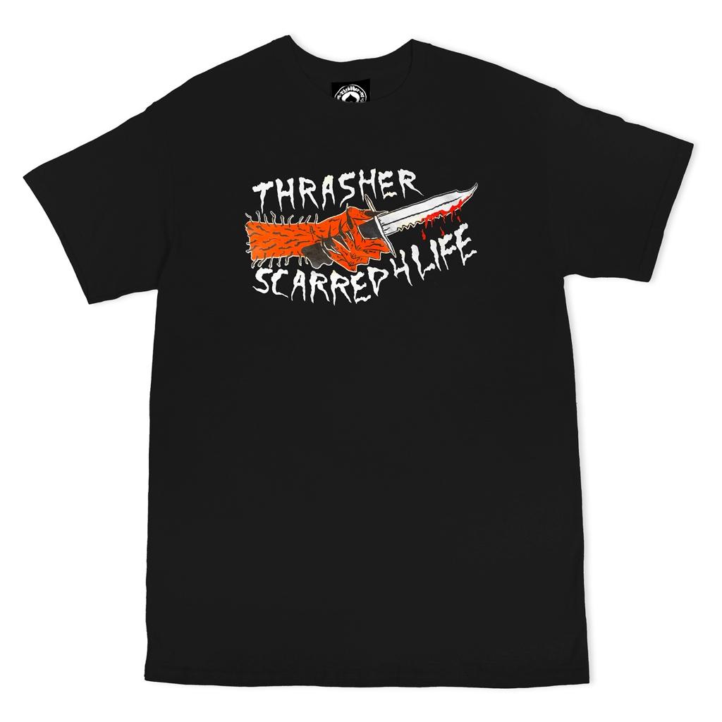 THRASHER SCARRED SHORT SLEEVE T-SHIRT - BLACK