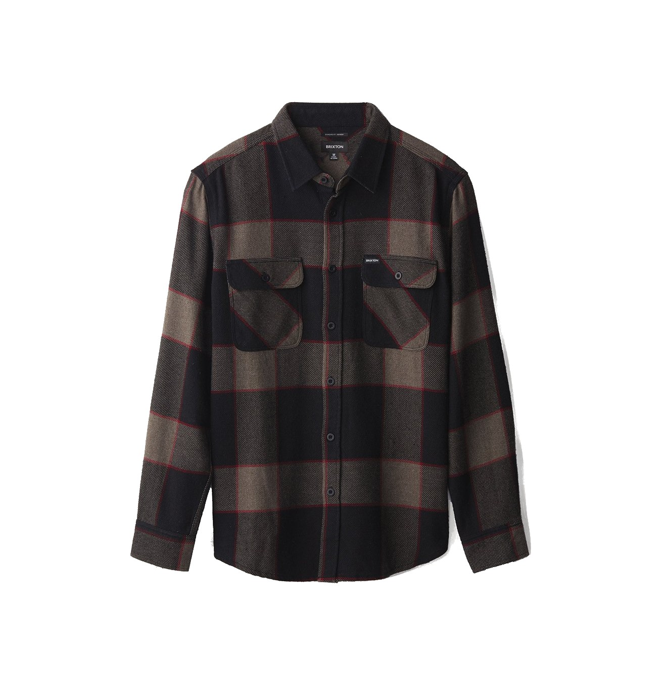BRIXTON BOWERY TALL FLANNEL OVERHEMD - HEATHER GREY/CHARCOAL