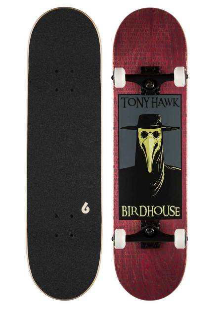 BIRDHOUSE STAGE 3 PLAGUE DOCTOR CPOMPLETE SKATEBOARD - RED