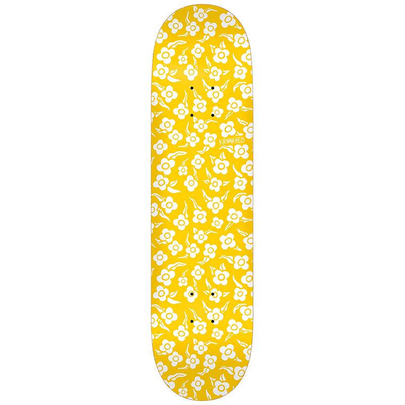"""KROOKED FLOWERS 8.5"""" SKATEBOARD DECK - YELLOW"""