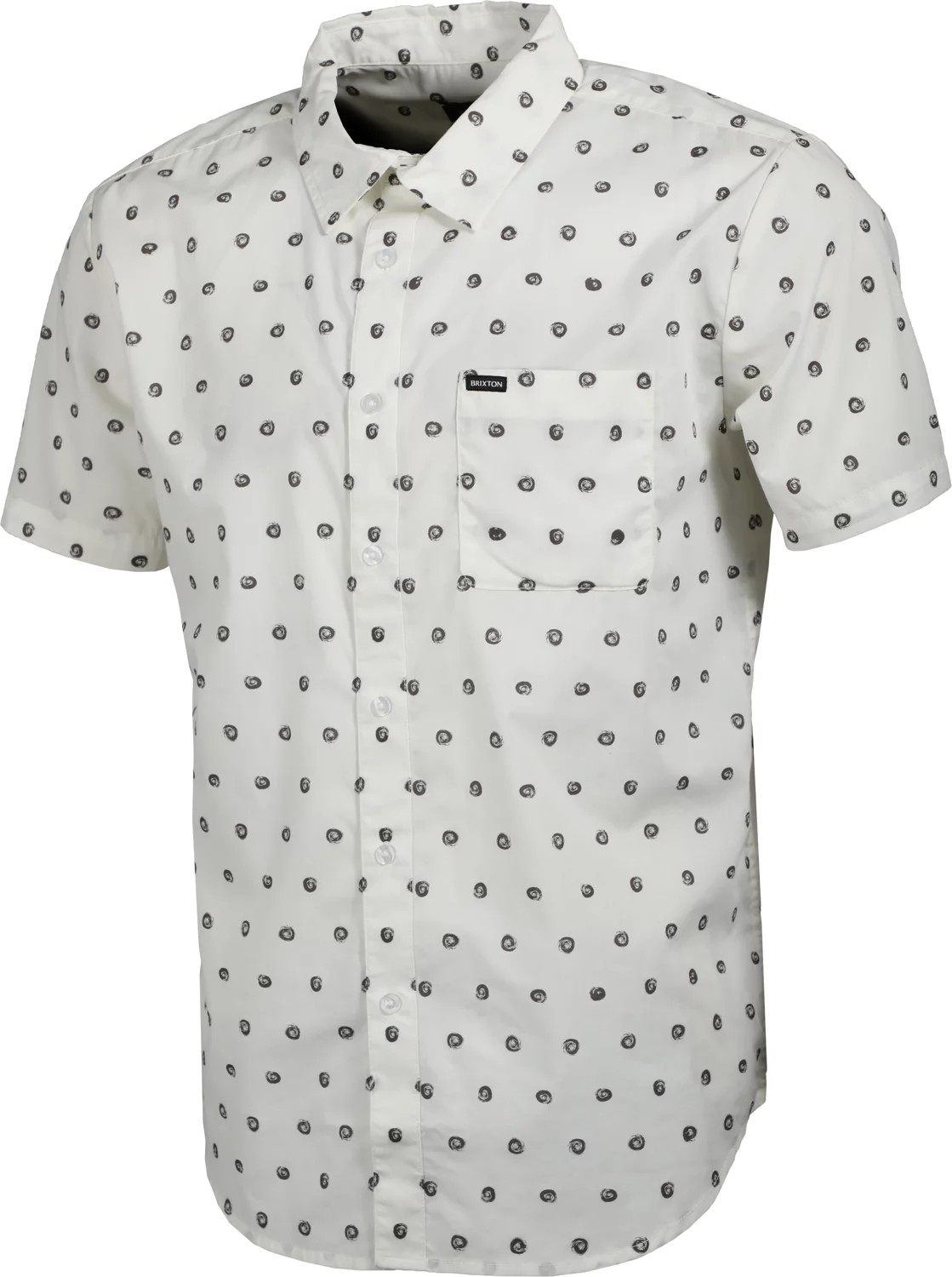 BRIXTON CHARTER PRINT S/S WOVEN OVERHEMD - OFF WHITE/CHARCOAL