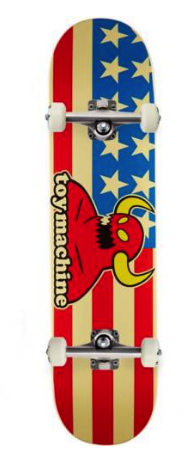 "TOY MACHINE AMERICAN MONSTER 7.75"" SKATEBOARD COMPLETE"