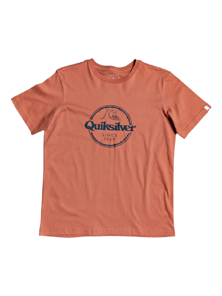 QUICKSILVER WORDS REMAIN SHORT SLEEVE YOUTH II TSHIRT - REDWOOD