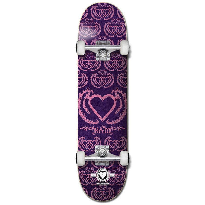 "HEART SUPPLY BAM MARGERA UNITED PRO 7.75"" SKATEBOARD COMPLETE - PURPLE/PINK"