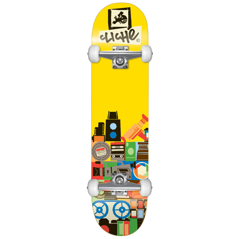 """CLICHE DOCUMENT FP 8.0"""" SKATEBOARD COMPLETE - YELLOW"""
