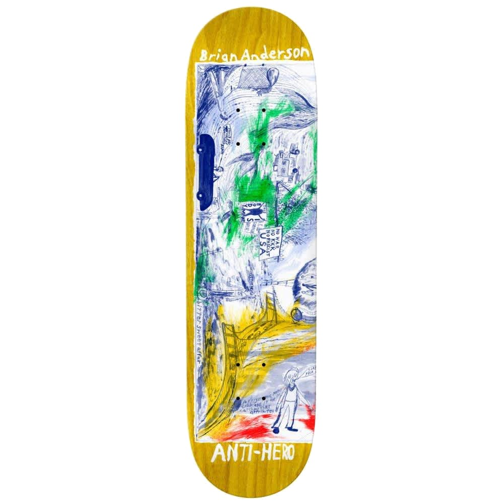 """ANTI HERO BA SF THEN AND NOW 8.5"""" SKATEBOARD DECK"""