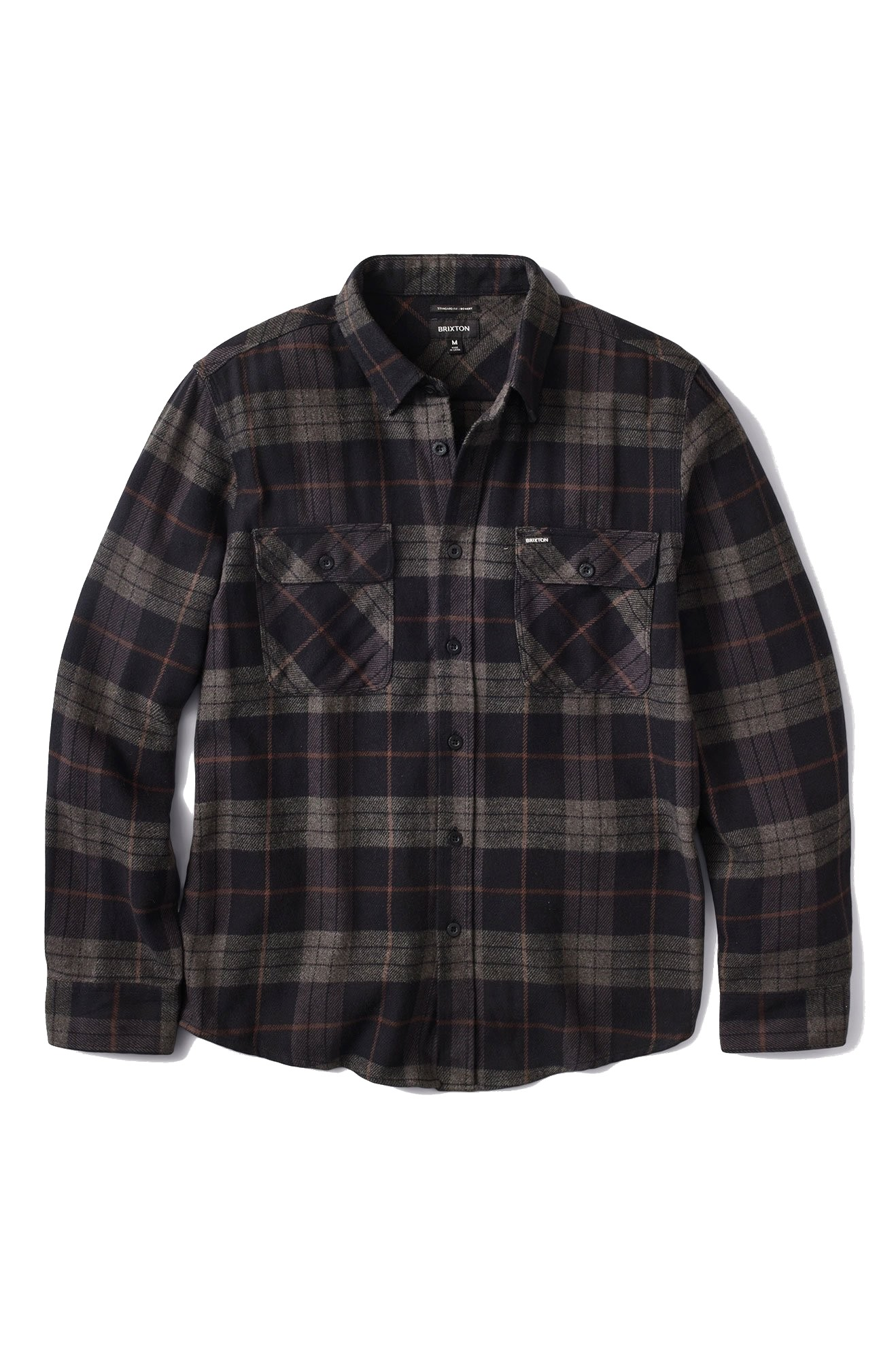 BRIXTON BOWERY TALL FLANNEL OVERHEMD - BLACK/CHARCOAL