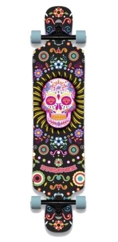 """HYDROPONIC DROP THROUGH 3.0 MEXICAN SKULL 8.75"""" LONGBOARD COMPLETE"""