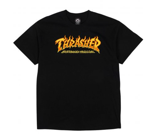 THRASHER FIRE LOGO SHORT SLEEVE T-SHIRT - BLACK