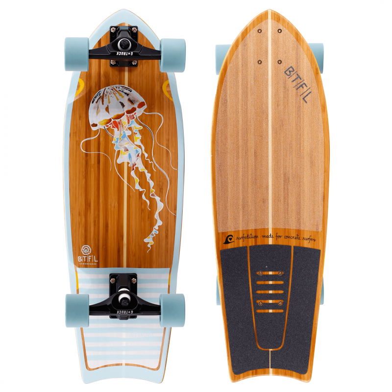 "BTFL AURELIA 9.6"" SURFSKATE BOARD BAMBOO COMPLETE"