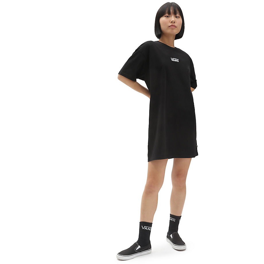 VANS CENTER VEE T-SHIRT DRESS - BLACK