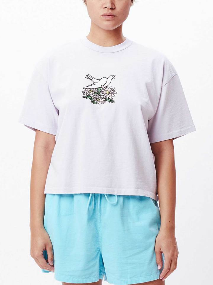 OBEY FLOWER DOVE T-SHIRT - LILAC HINT