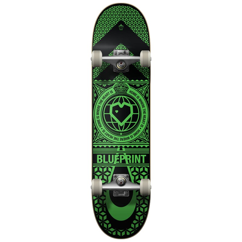 "BLUE PRINT HOME HEART 8.0"" SKATEBOARD COMPLETE - BLACK/GREEN"