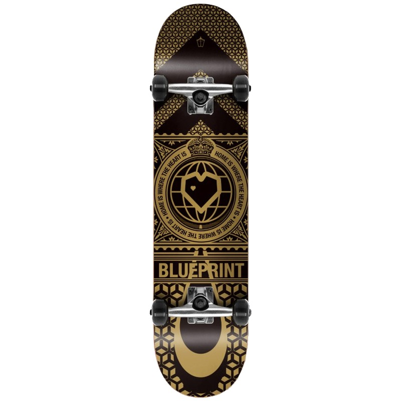 "BLUE PRINT HOME HEART 8.0"" SKATEBOARD COMPLETE - BLACK/GOLD"