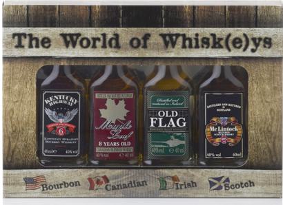 The World of Whiskey Set met 4 miniaturen