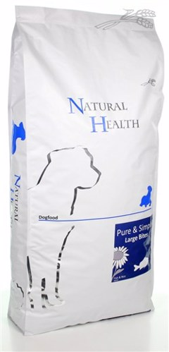 NATURAL HEALTH DOG VIS/RIJST LARGE BITE  12,5 KG