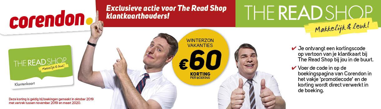 Exclusieve actie voor The Read Shop klantkaarthouders - Corendon Winterzonvakanties 60 euro korting